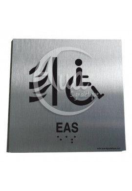 Plaque Alu Brossé Braille Espace d'Attente Sécurisé
