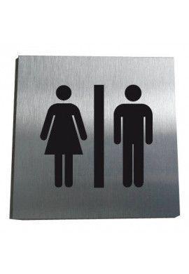 Plaque Alu Brossé Toilettes hommes / femmes