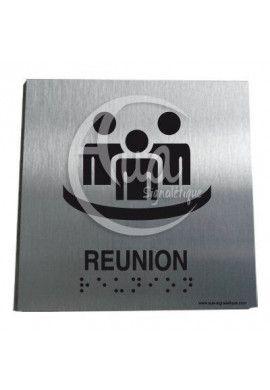 Plaque Alu Brossé Braille Salle de Réunion