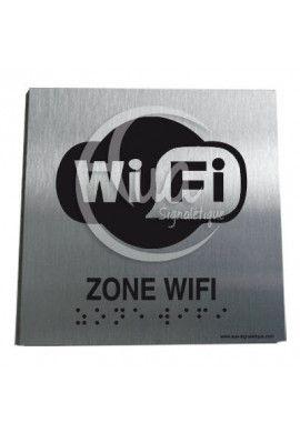Plaque Alu Brossé Braille WiFi