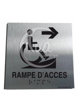 Plaque Alu Brossé Braille Rampe d'Accès Handicapé