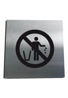 Plaque Alu Brossé Ne pas jeter vos papiers par terre