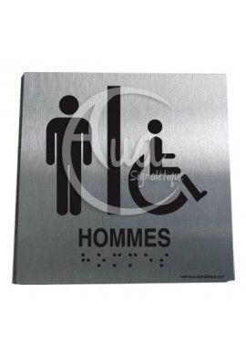 Plaque Alu Brossé Braille WC Homme Handicapé