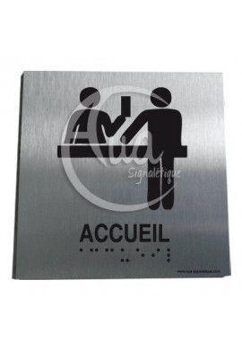 Plaque Alu Brossé Braille Accueil