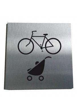 Plaque Alu Brossé Local Vélos, Poussettes
