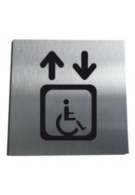 Plaque Alu Brossé Ascenseur Handicapé
