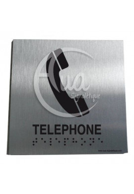Plaque Alu Brossé Braille Téléphone