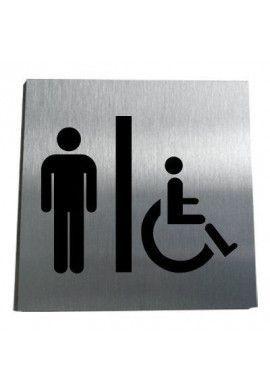 Plaque Alu Brossé WC Homme Handicapé