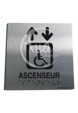 Plaque Alu Brossé Braille Ascenseur Handicapé