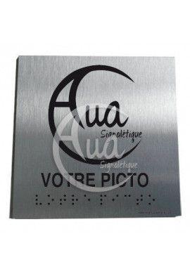 Plaque Alu Brossé Braille Votre Picto*