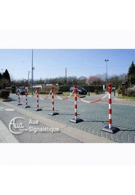 Kit 6 poteaux PVC sur socle Chantier - 5.5 KG Rouge/Blanc avec ou sans 25m de chaîne