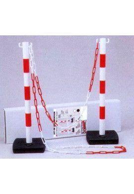 Kit 2 poteaux PVC sur socle Chantier - 4KG - avec 5m de chaine