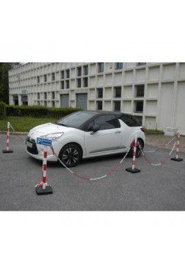 Kit 6 poteaux PVC sur socle Chantier - 4KG Rouge/Blanc - avec 25m de chaîne