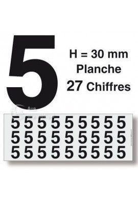Planche 27 Chiffres prédécoupés -Hauteur 30mm