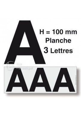 Planche 3 Lettres prédécoupés -Hauteur 100mm
