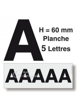 Planche 5 Lettres prédécoupés -Hauteur 60mm