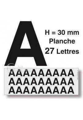 Planche 27 Lettres prédécoupés -Hauteur 30mm