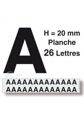 Planche 26 Lettres prédécoupés -Hauteur 20mm