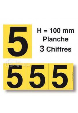 Planche 3 Chiffres prédécoupés Fond Jaune -Hauteur 100mm