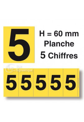 Planche 5 Chiffres prédécoupés Fond Jaune -Hauteur 60mm