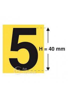Planche 14 Chiffres prédécoupés Fond Jaune -Hauteur 40mm