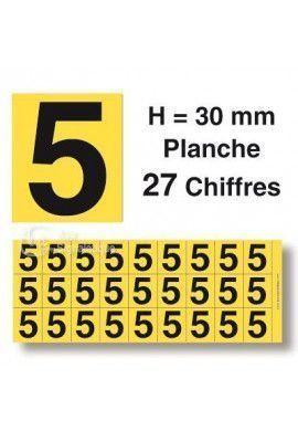 Planche 27 Chiffres prédécoupés Fond Jaune -Hauteur 30mm
