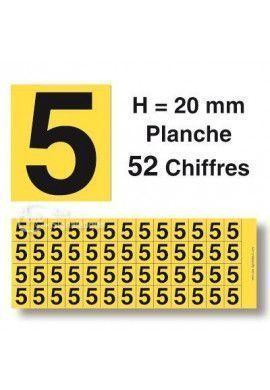 Planche 52 Chiffres prédécoupés Fond Jaune -Hauteur 20mm