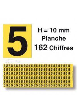 Planche 162 Chiffres prédécoupés Fond Jaune -Hauteur 10mm