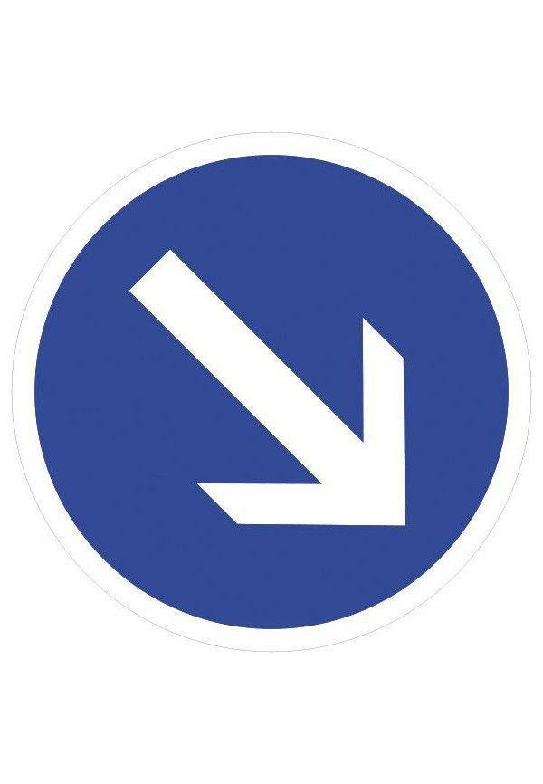 Panneau Contournement à droite - B21a1