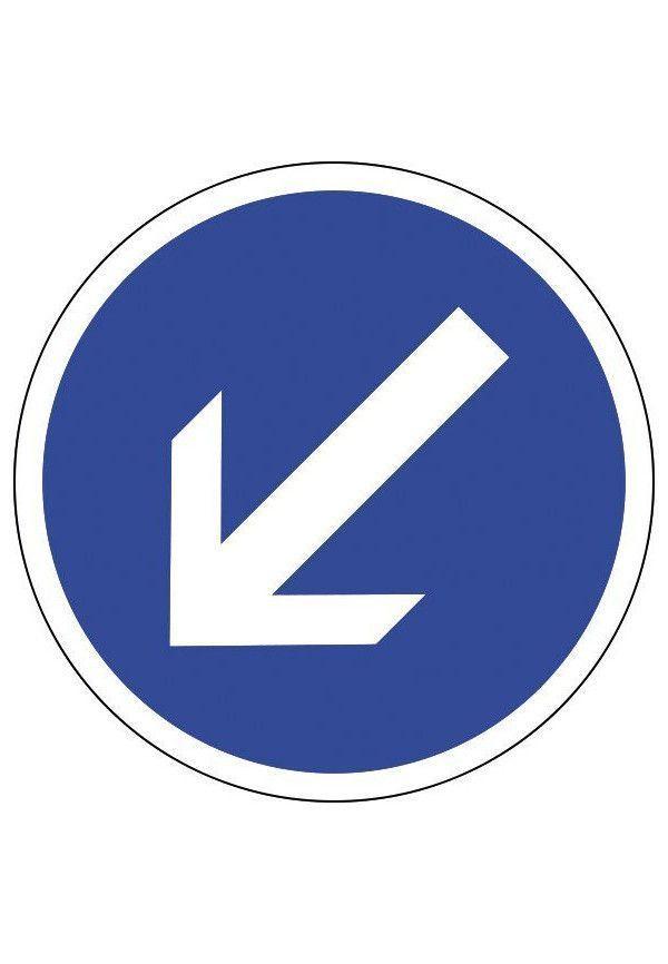 Panneau Contournement à gauche - B21a2