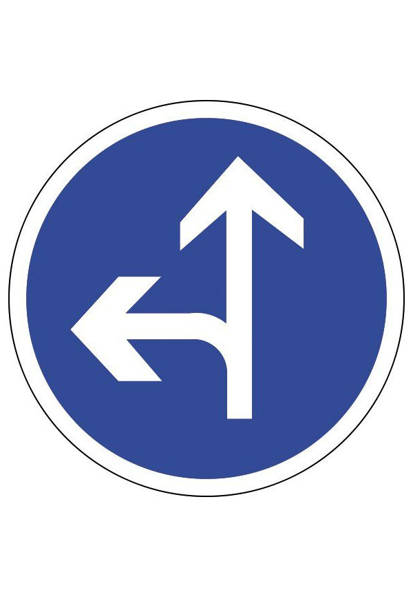 Panneau Tout droit ou à gauche - B21d2