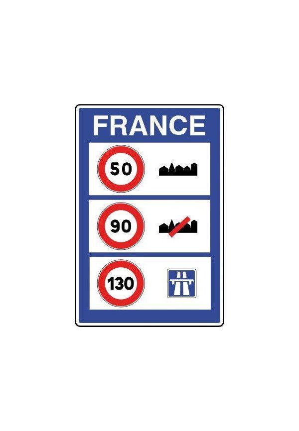 Panneau Indication aux frontières des limites de vitesse sur le territoire français - C25a