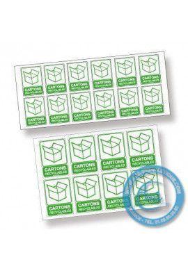 Pictogrammes adhésifs en planches. Panneau Recyclage & Décheteries