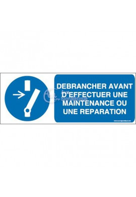 Débrancher avant d'effectuer une activité de maintenance ou une réparation M021-B Aluminium 3mm 160x60 mm