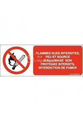 Flammes nues interdites; Feu et source d'allumage non protégée interdits, interdiction de fumer P003-B Aluminium 3mm 160x60 mm