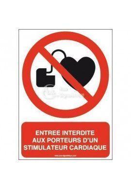Entrée interdite aux porteurs d'un stimulateur cardiaque P007-AI Aluminium 3mm 150x210 mm