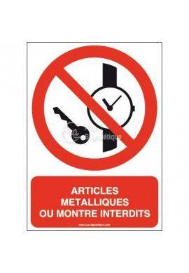 Articles métalliques ou montre interdits P008-AI Aluminium 3mm 150x210 mm
