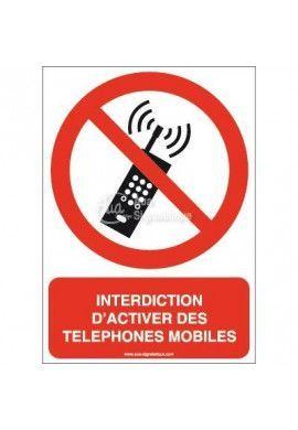 Interdiction d'activer des téléphones mobiles P013-AI Aluminium 3mm 150x210 mm