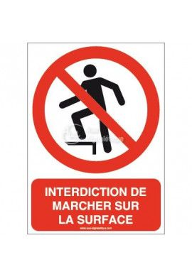 Interdiction de marcher sur la surface P019-AI Aluminium 3mm 150x210 mm