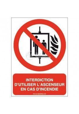 Interdiction d'utiliser l'ascenseur en cas d'incendie P020-AI Aluminium 3mm 150x210 mm