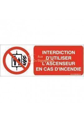 Interdiction d'utiliser l'ascenseur en cas d'incendie P020-B