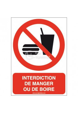 Interdiction de manger ou de boire P022-AI Aluminium 3mm 150x210 mm