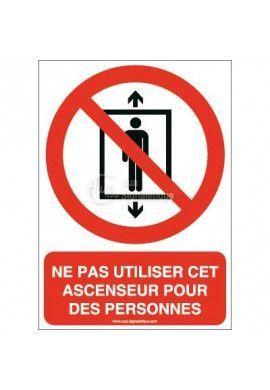 Ne pas utiliser cet ascenseur pour des personnes P027-AI Aluminium 3mm 150x210 mm