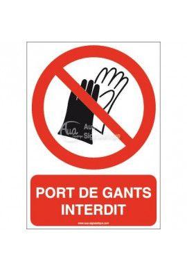 Port de gants interdit P028-AI Aluminium 3mm 150x210 mm