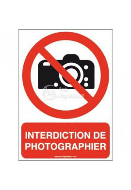 Interdiction de photographier P029-AI Aluminium 3mm 150x210 mm