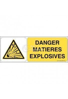 Danger, Matières explosives W002-B Aluminium 3mm 160x60 mm