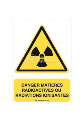 Danger, Matières radioactives ou radiations ionisantes W003-AI Aluminium 3mm 150x210 mm