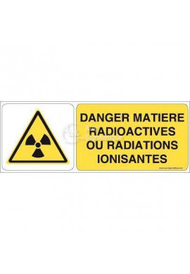 Danger, Matières radioactives ou radiations ionisantes W003-B Aluminium 3mm 160x60 mm