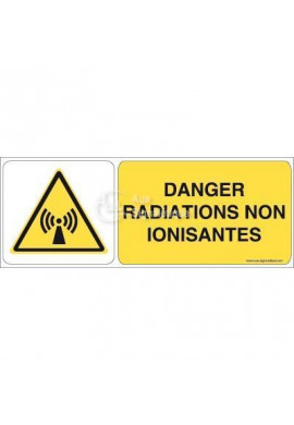 Danger, Radiations non ionisantes W005-B Aluminium 3mm 160x60 mm