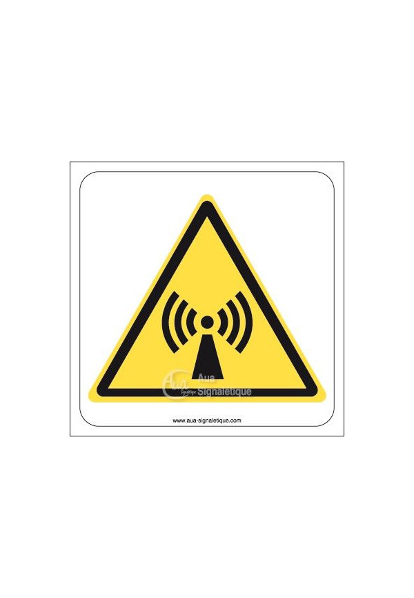 Danger, Radiations non ionisantes W005 Aluminium 3mm 130x130 mm